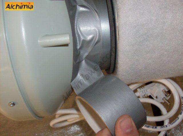 3. Sujetamos el filtro y el extractor con cinta adhesiva
