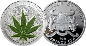 Moneda cannábica con hoja de marihuana de la república de benin