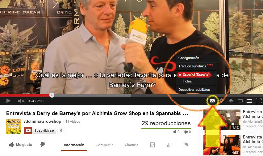 Activar los subtítulos en Youtube