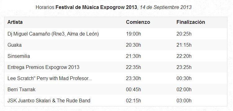 Horarios del Festival musical Expo Grow