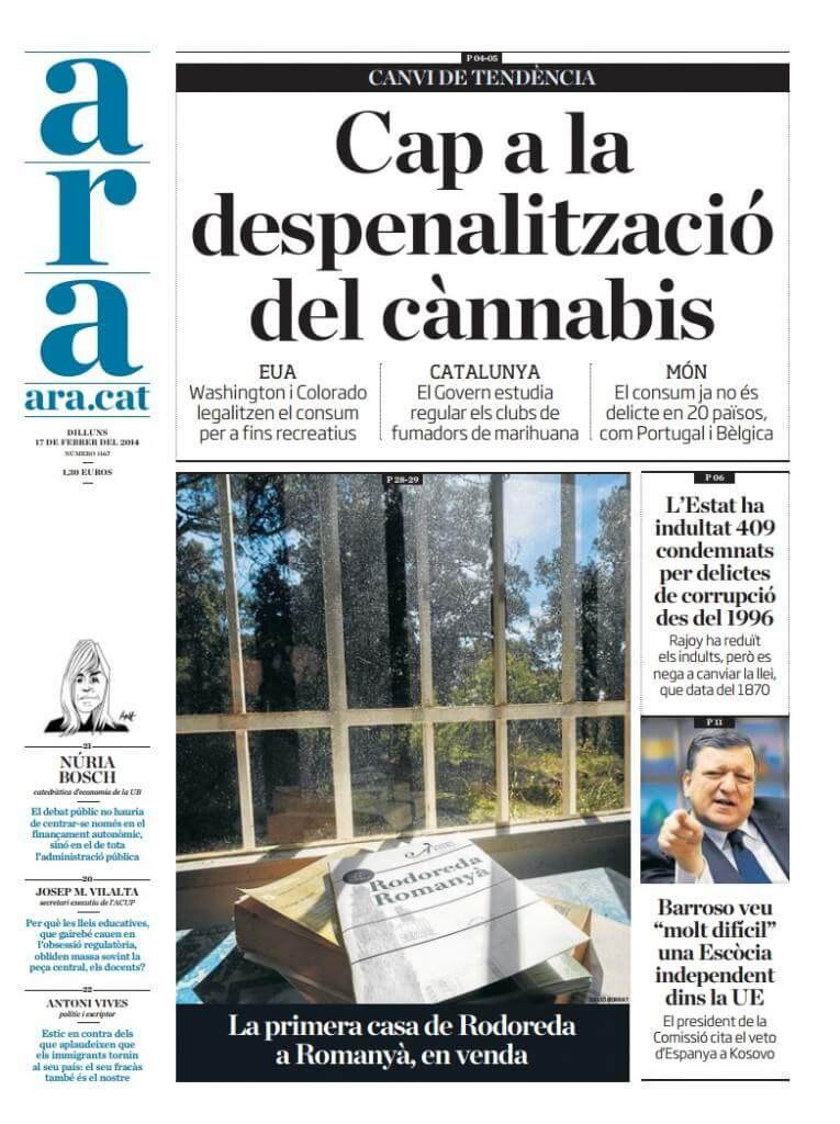 La regulación de los CSC portada del periódico ARA