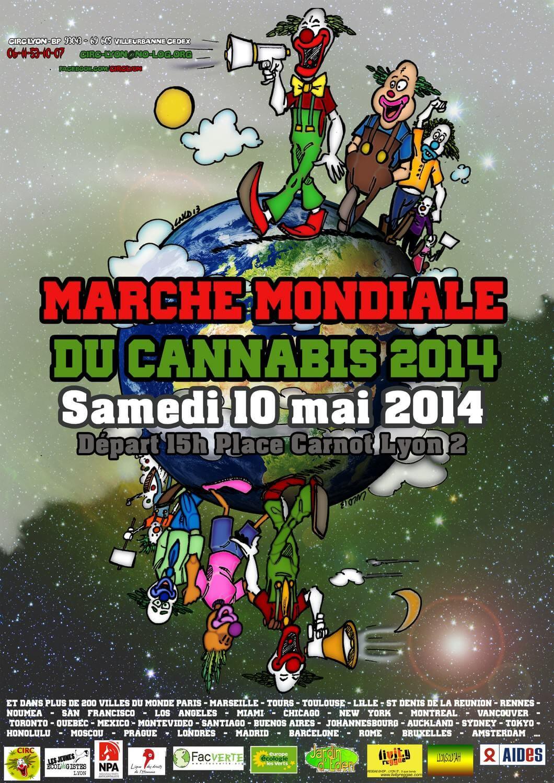 Este es el cartel de la concentración cannábica de Lyon