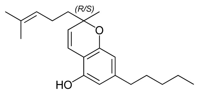 Molécula de cannabicromeno (CBC)