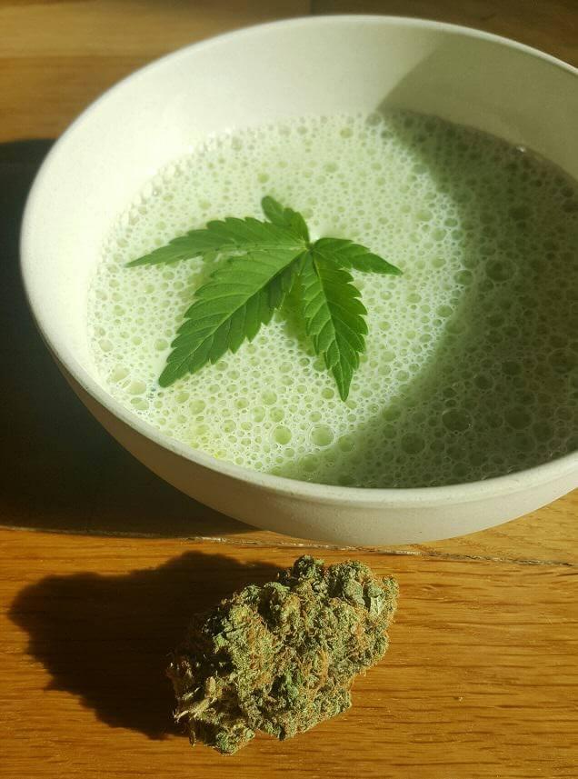 Bhang Lassi y cogollo de cannabis