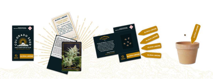 El packaging de Colorado Seed incluye información, etiquetas identificativas y las semillas