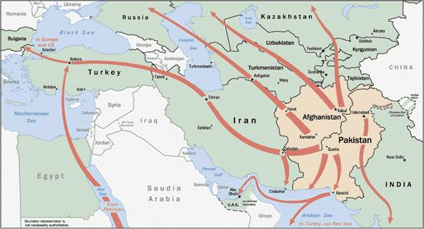 Las rutas de exportación a menudo son las mismas para hachís y opio