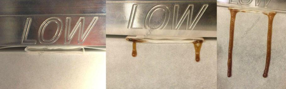 Salsa de terpenos goteando sobre el papel de horno