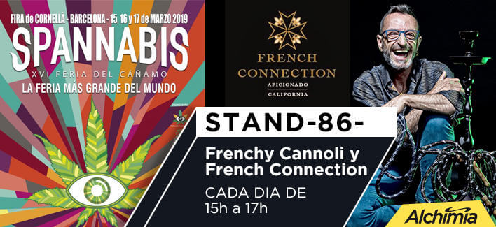 Frenchy Cannoli y French Connection en el stand Alchimia de la Spannabis