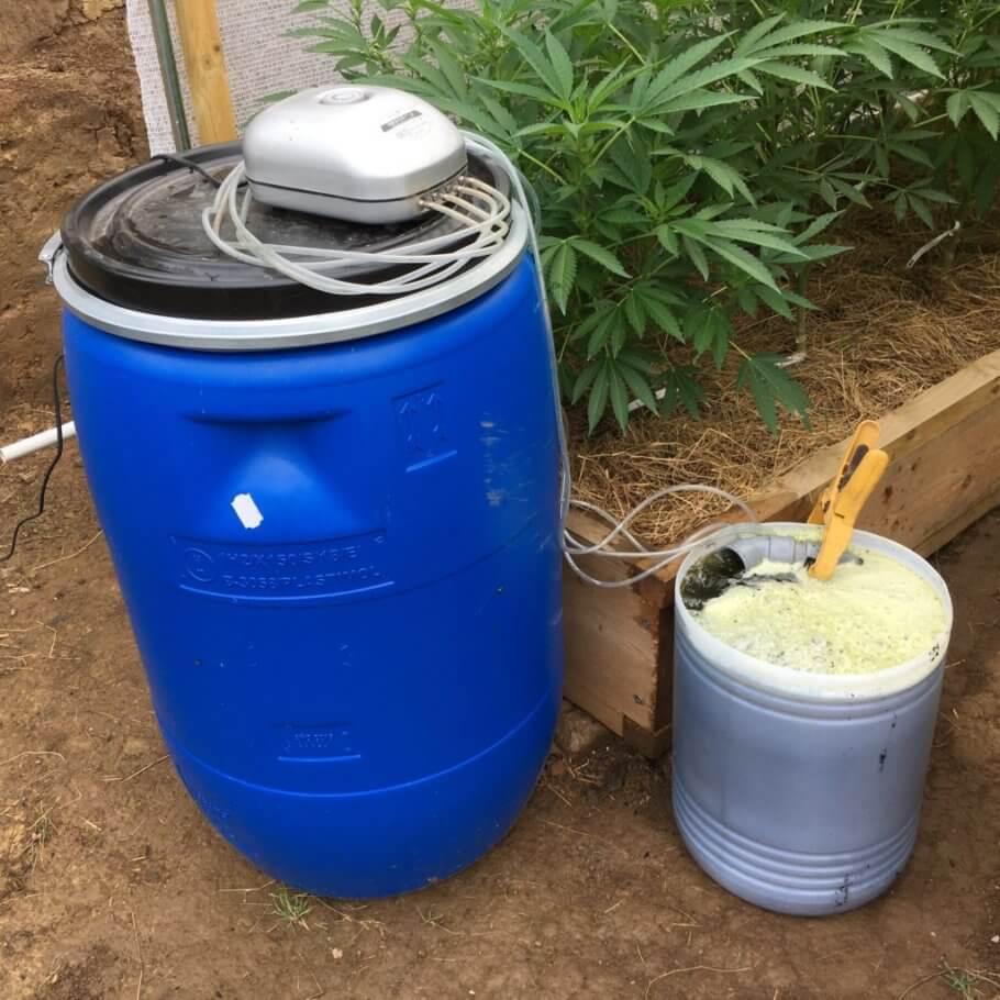 Infusionando té de compost con un sistema oxigenador casero