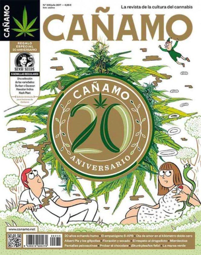 La portada de l'edició dels 20 anys de Cáñamo