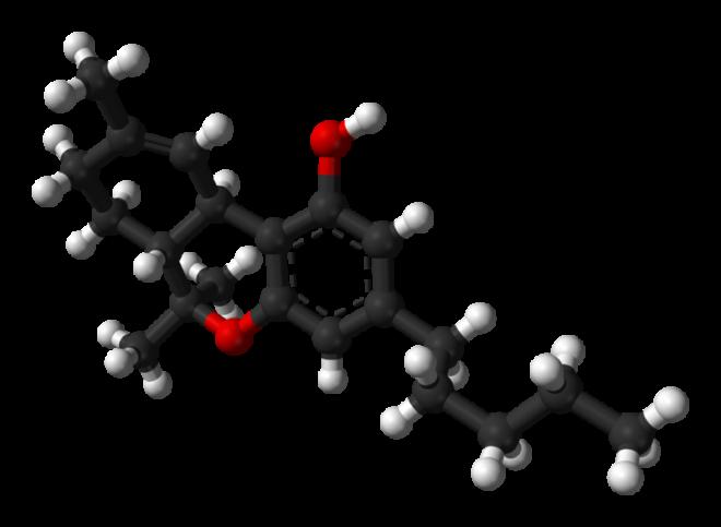 Molècula de THC (Delta-9-tetrahidrocannabinol)