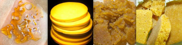 Diferents textures de BHO: Shatter, Budder, Sugar Wax, Wax (Foto: @sergiohuertasdemaria)