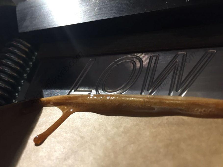 Primeres gotes de Rosin caient pel paper de forn