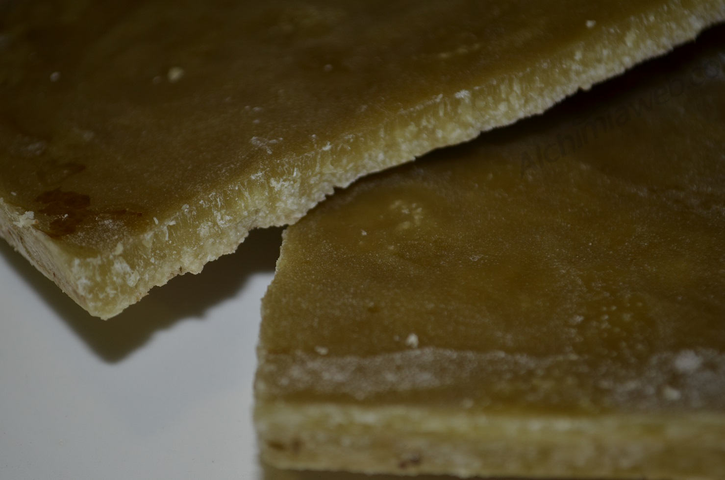 The solidified oil after the cannaboid extraction process