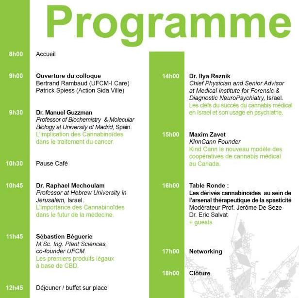 Programme of the third conference on the use of cannabinoids in medicine, to be held in France
