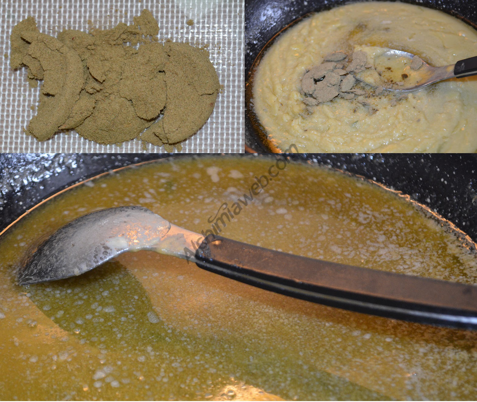 Preparation of fat enriched with hashish.