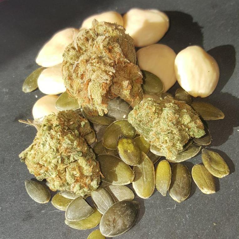 Almonds, pumpkin seeds and cannabis