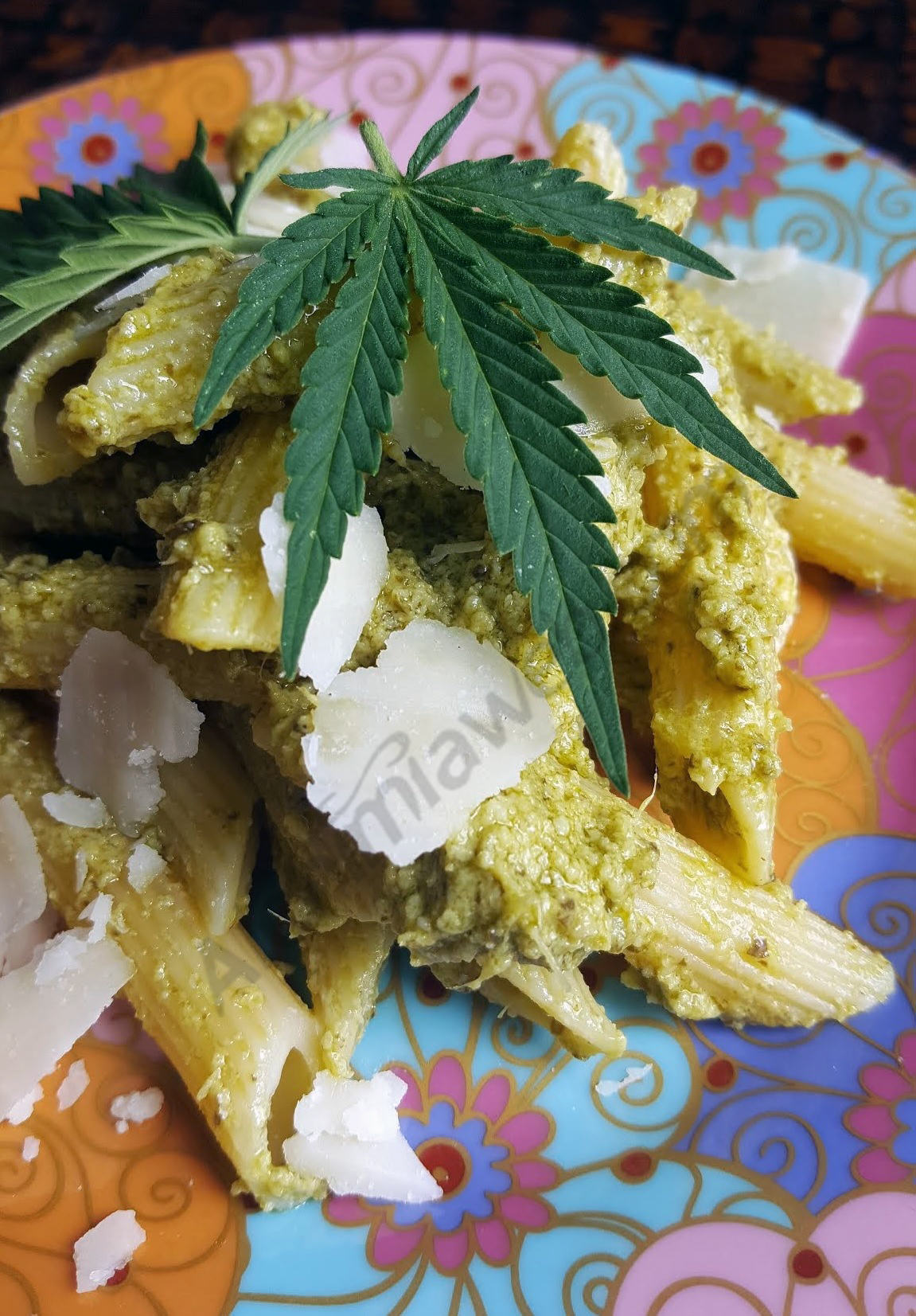 Our cannabis pesto with pasta is ready!