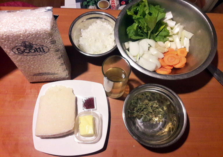 Ingredients for the cannabis risotto