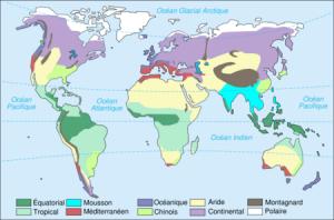 Les différents climats sur la planète - Source: Wikipédia