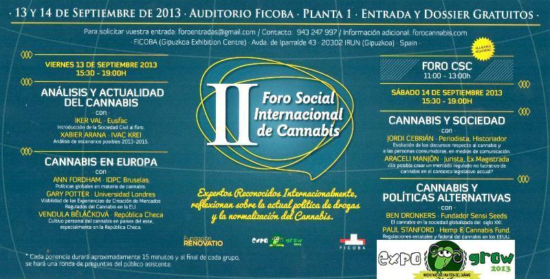 Horaires II Forum Social Internacional Cannabis