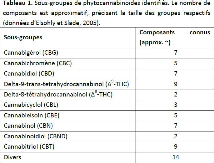 Sous-groupes de cannabinoïdes identifiés dans la plante de cannabis