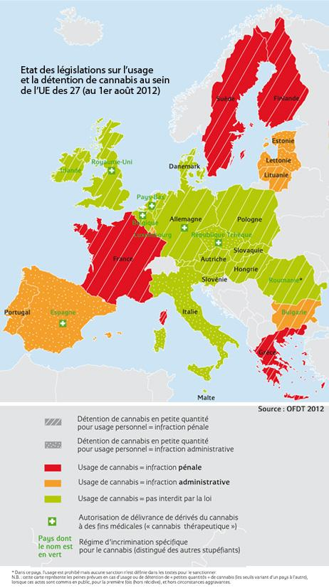 Situation léglislative du cannabis en Europe (en août 2012)