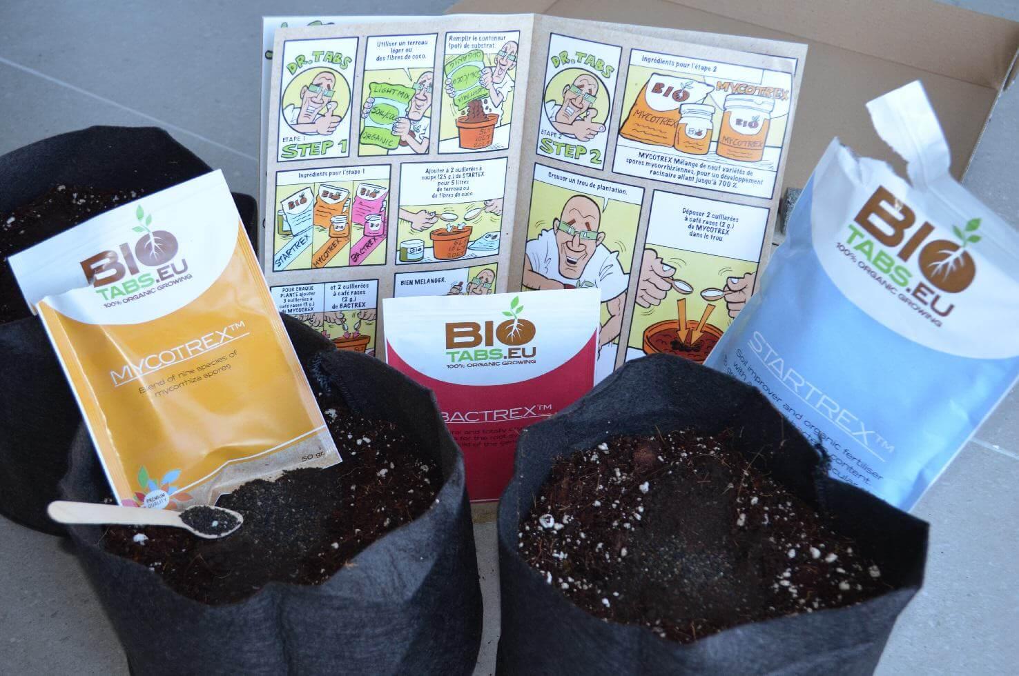Les smart pots remplis de coco enrichie avec biotabs, prêts à accueillir nos plantes de cannabis