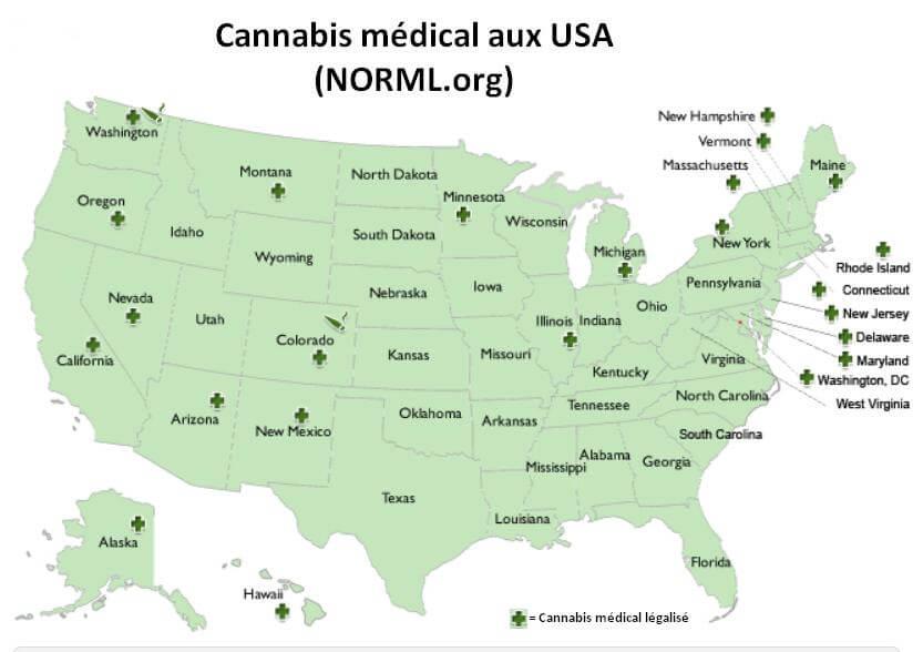 Carte des États ayant autorisé le cannabis médical aux USA (fin 2014)