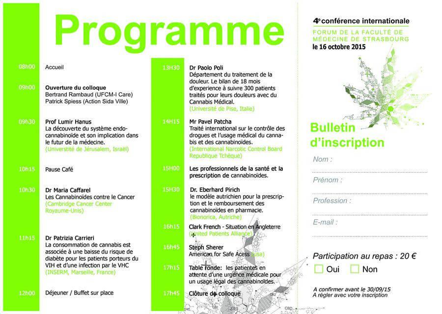 Programme de la 4e conférence sur le cannabis médical en France (source: UFCM)