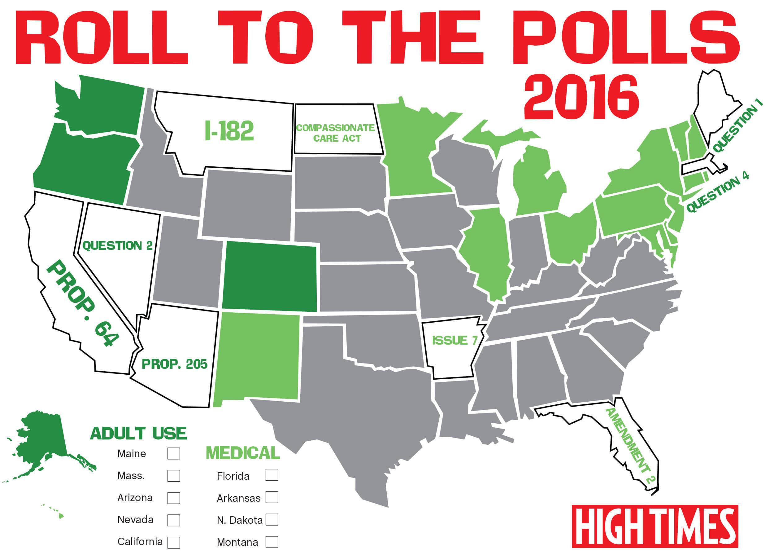 Carte De La Legislation Du Cannabis Aux Etats Unis Le 8 Novembre 2016 Source