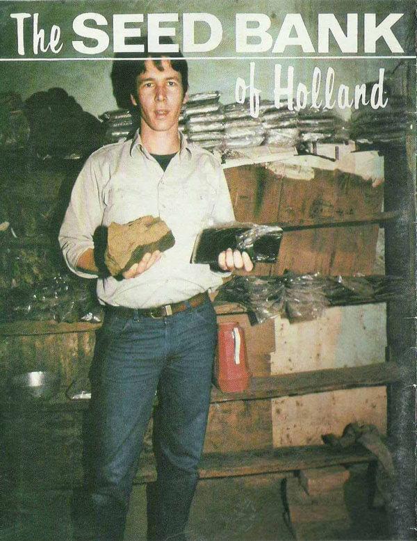 """Nevil sur la couverture du catalogue de graines de """"The Seed Bank"""" (1987), ancêtre de The Sensi Seed Bank."""