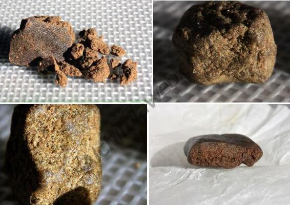 Différents échantillons de haschisch marocain