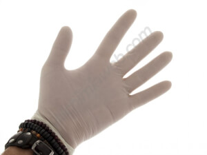 Sterilised latex gloves