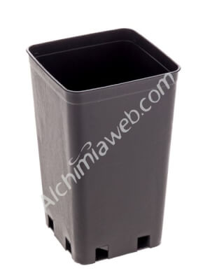 Square black plant pot - 10 x 10 x 17 cm - 1.4 L