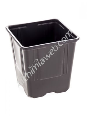 Square black plant pot - 11 x 11 x 11 - 1 L