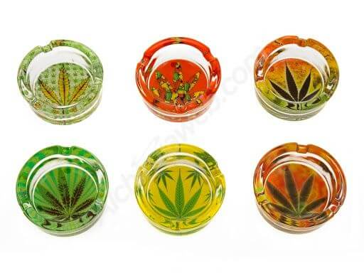 Coloured Glass ashtray with Cannabis Leaf