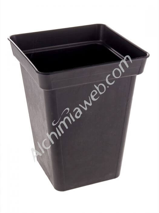 Square black plant pot - 20 x 20 x 26 cm - 7 L